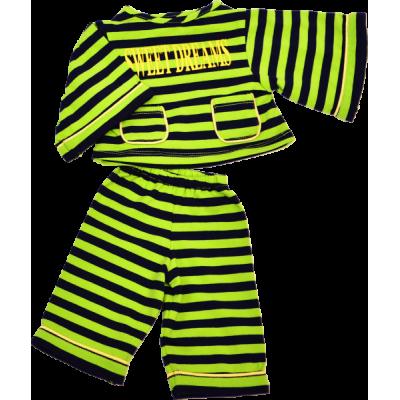 Pyjama grün/schwarz (für 45 cm)